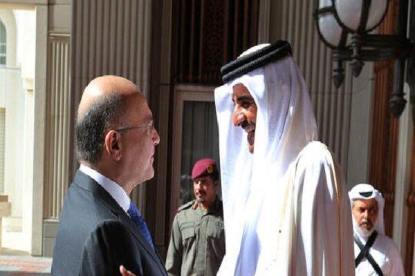 امیر قطر تلفنی با برهم صالح گفتگو کرد